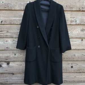 Vintage Double Breasted Coat Black 10 made in USA